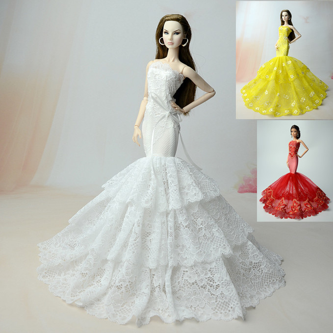 Handmade Clothes For 1//6 Doll Clothes Slim Evening Wedding Fishtail Dress Toy