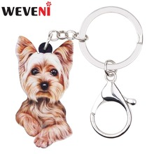 где купить WEVENI Acrylic Anime Cute Yorkshire Terrier Dog Key Chains Keychain Women Girl Female Holder Car Charms Animal Jewelry 2018 дешево