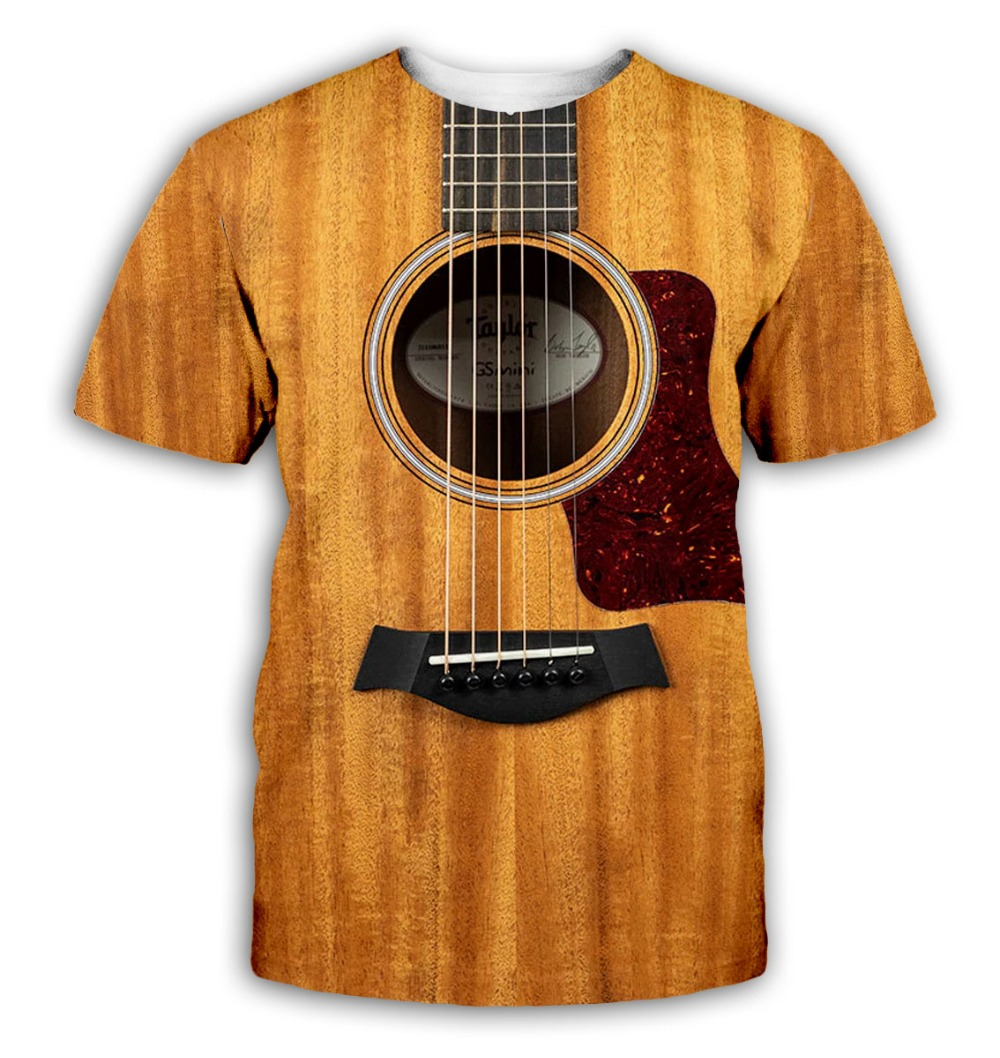 Guitar art Musical instrument 3D full printing fashion   t     shirt   3D print hip hop style tshirt streetwear casual summer style-8