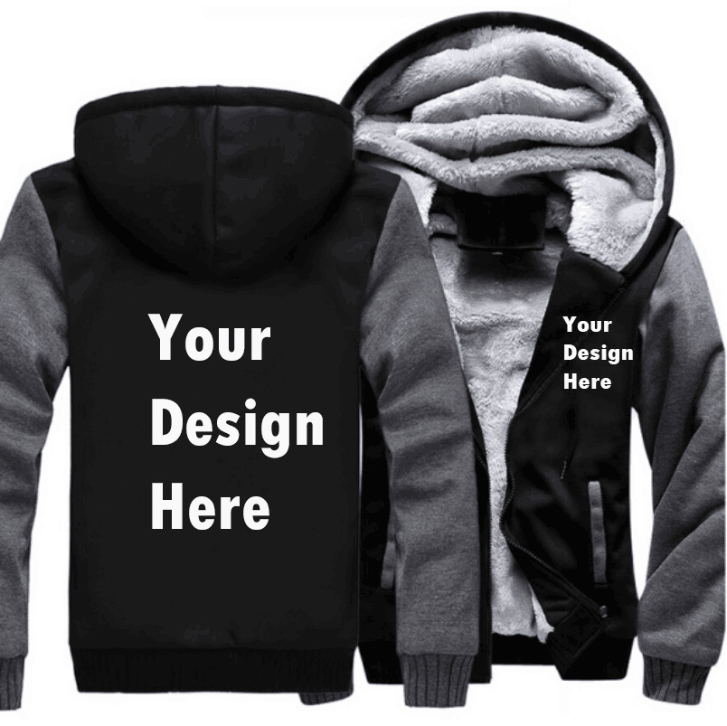 Promotional Your logo Custom Made Hoodies Sweatshirt Men 2018 New Autumn Winter Warm Thick Casual Brand Tracksuit Plus Size 5XL
