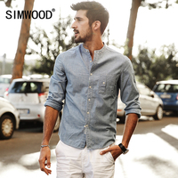 SIMWOOD 2018 Nuova Primavera Estate Manica Lunga Camicie Casual Uomo In Cotone e Tessuto di Lino Slim Fit CS1567