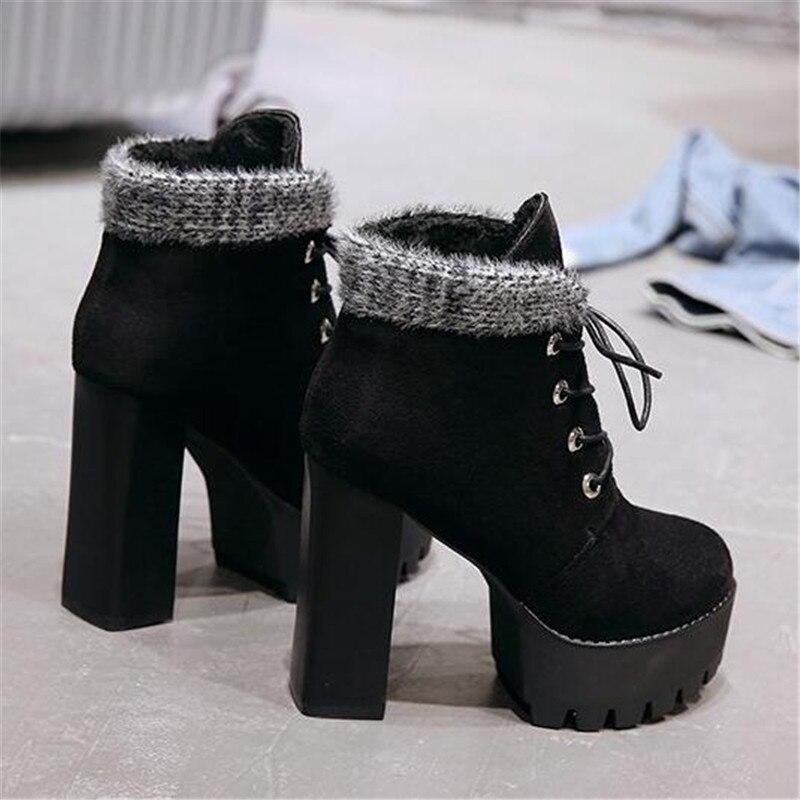 188939cad53 Tacones Suela Bombas Botines Goma Nuevo Con Cordones Invierno Altos Zapatos  Negro Flock Botas 2019 Plataforma Black De Mujeres Mujer Cómodo qx1nOBp
