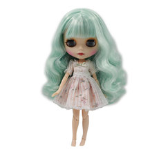 Factory Blyth Doll Nude Dol Mint Green Long Wavy Hair With/No Bangs Matte Face Red Mouth 4 Colors For Eyes Suitable For DIY(China)