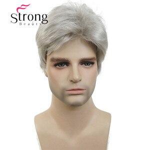 Image 2 - StrongBeauty קצר כסף אפור פאה Mens קצר סינטטי שיער פאות צבע אפשרויות