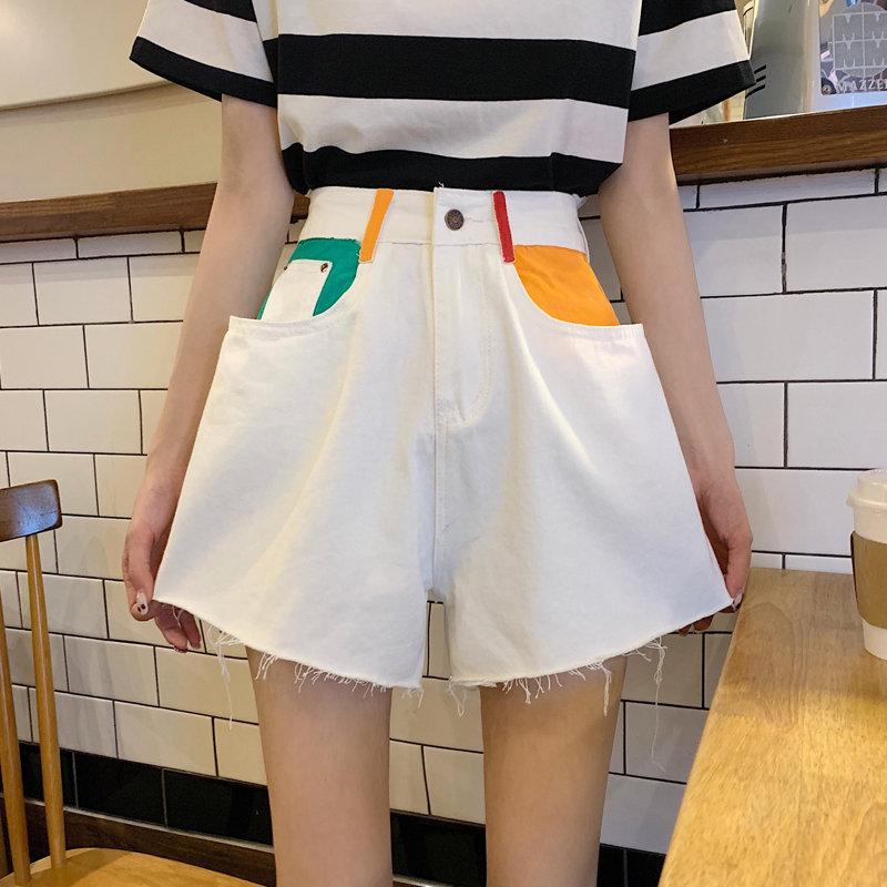 Alien Kitty Retro High Waist Color-Hit Women Streetwear 2019 New Denim Shorts Summer Korea Wide Leg Sexy Short Jeans 2 Types