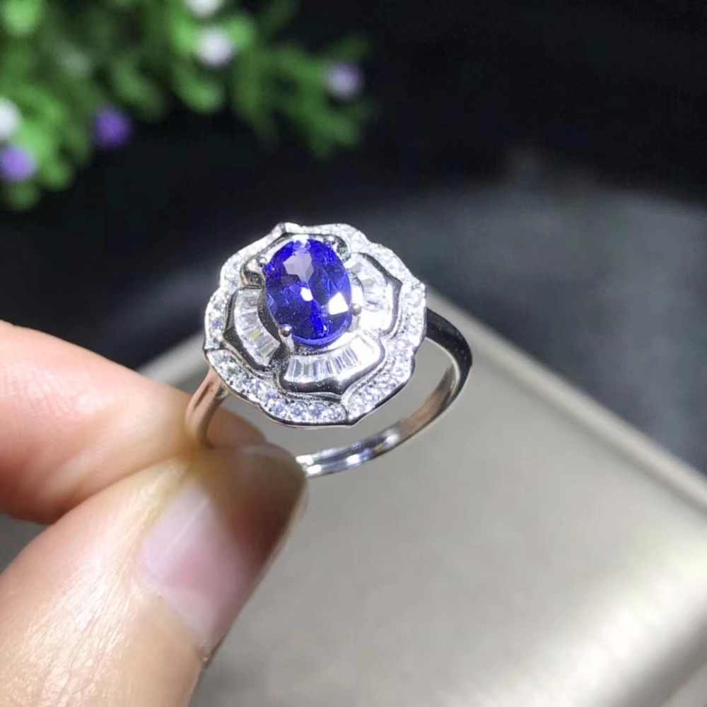 Natural tanzanite ring, luxurious style, blue gemstone, natural stone in the mine, 925 silver,