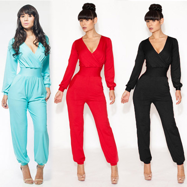 website for discount search for latest top brands 2014 Women New Fashion Sexy V Neck Long Sleeve Blue Bodycon ...