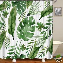 Тропическая занавеска для душа s зеленая занавеска для ванной ткань занавеска для душа s для ванной Водонепроницаемый полиэстер занавеска для душа или коврик