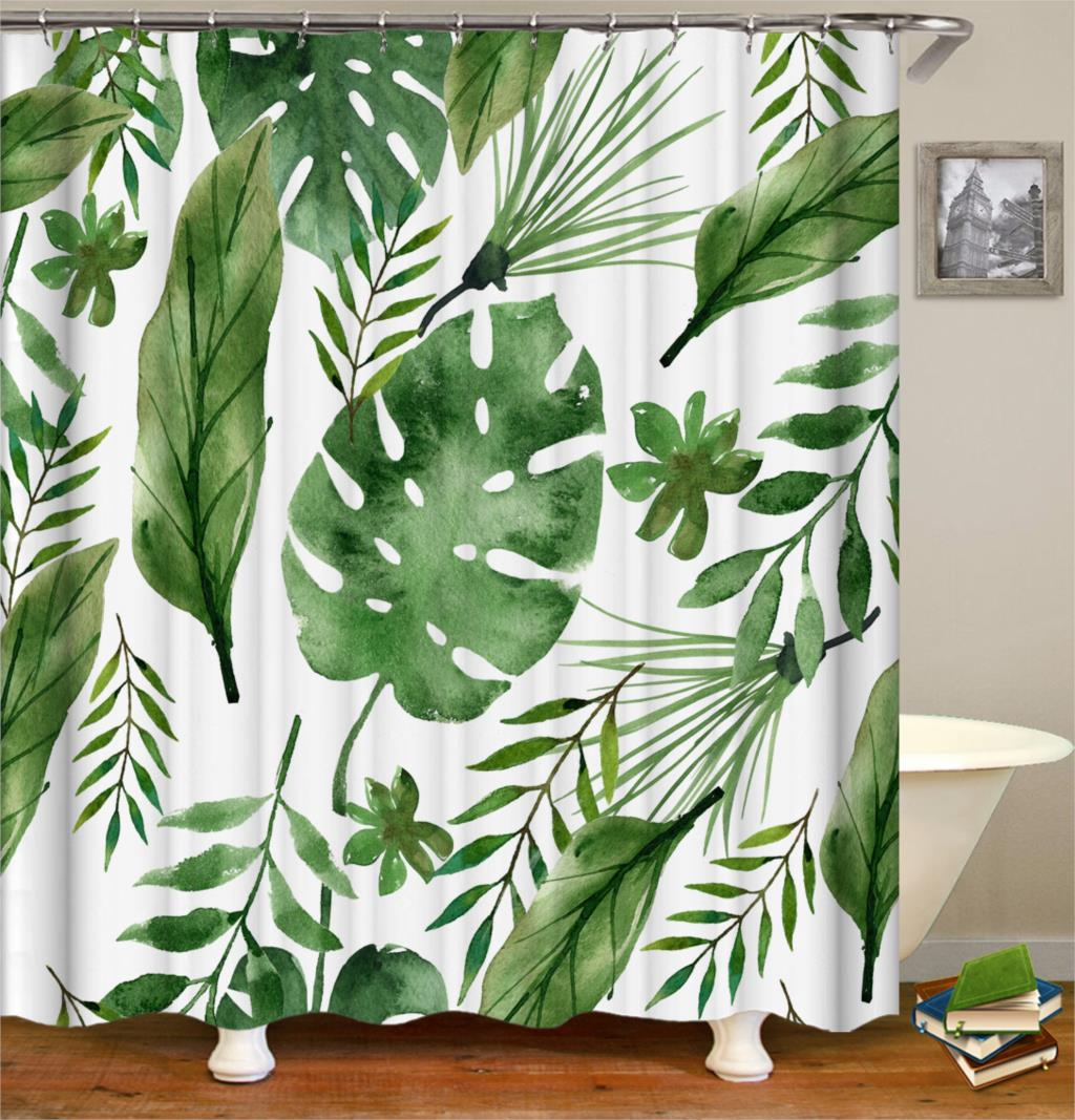 Tropical Shower Curtains Green Curtain Bath Fabric Shower Curtains For Bathroom Waterproof Polyester Fabric Shower Curtain
