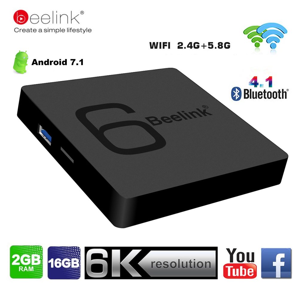 Beelink GS1 6 K TV Box Android 7.1 Allwinner H6 Quad Core 2G RAM 16G ROM Smart Set Top Box 5G Wifi BT4.1 1000 M HD Media Player