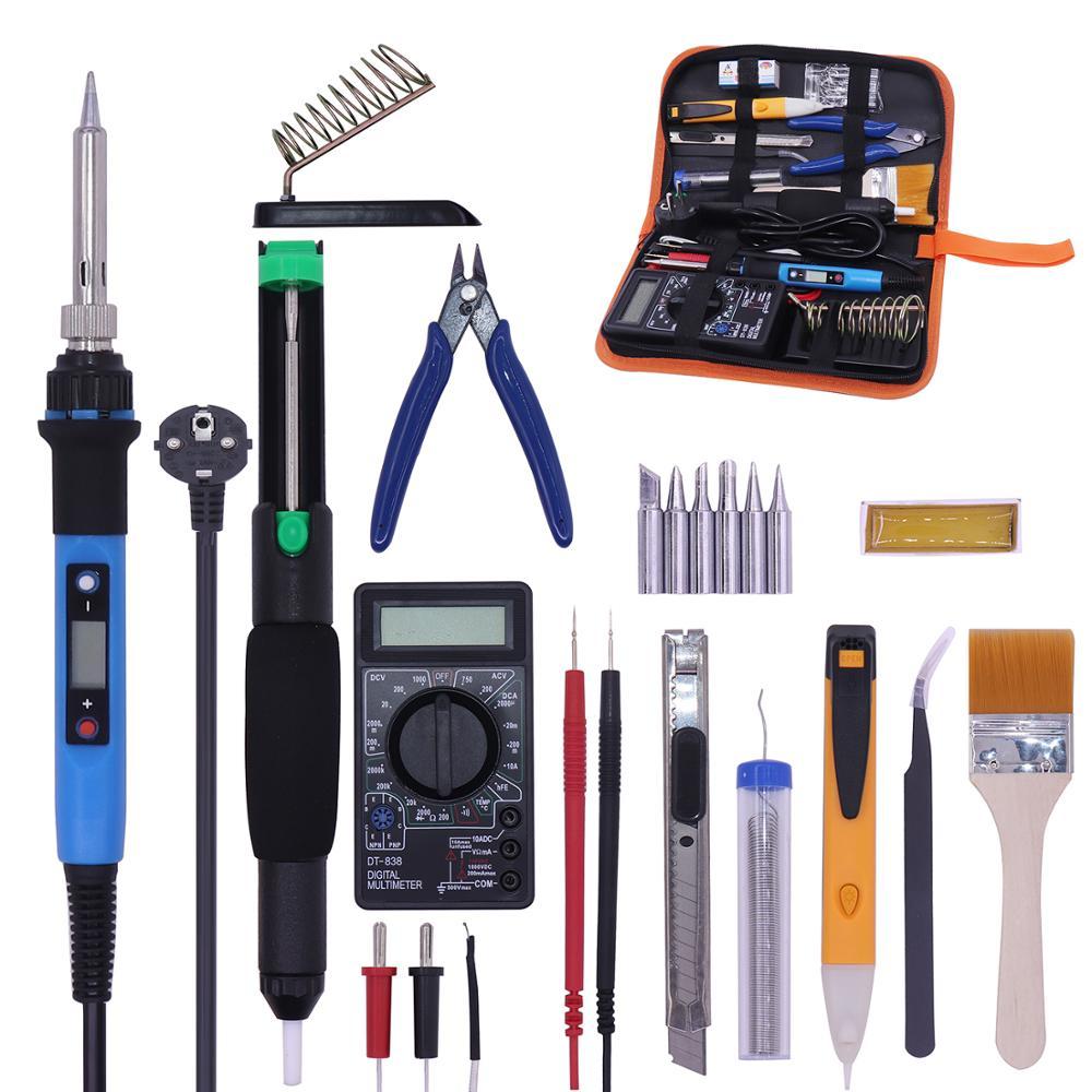 PJLSW 110/220V Adjustable Temperature Soldering Iron Kit Digital Multimeter Soldering Tips Desoldering Pump Cutter Solder