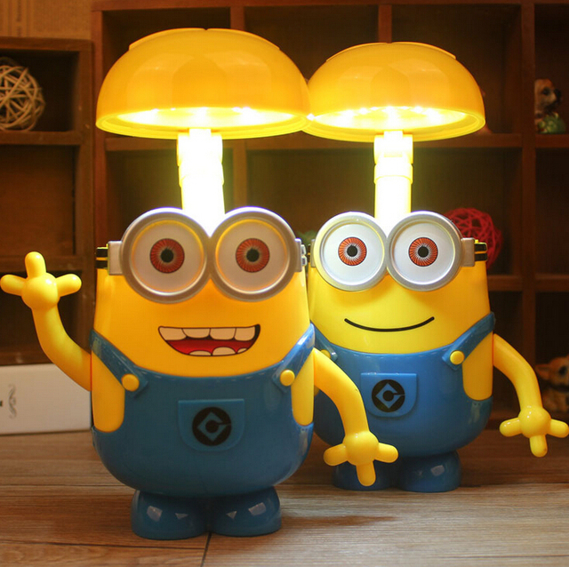 US EU Plug Cartoon Minions Charging Lamp Learning Lamp Minions Led Night  Light Use As Money