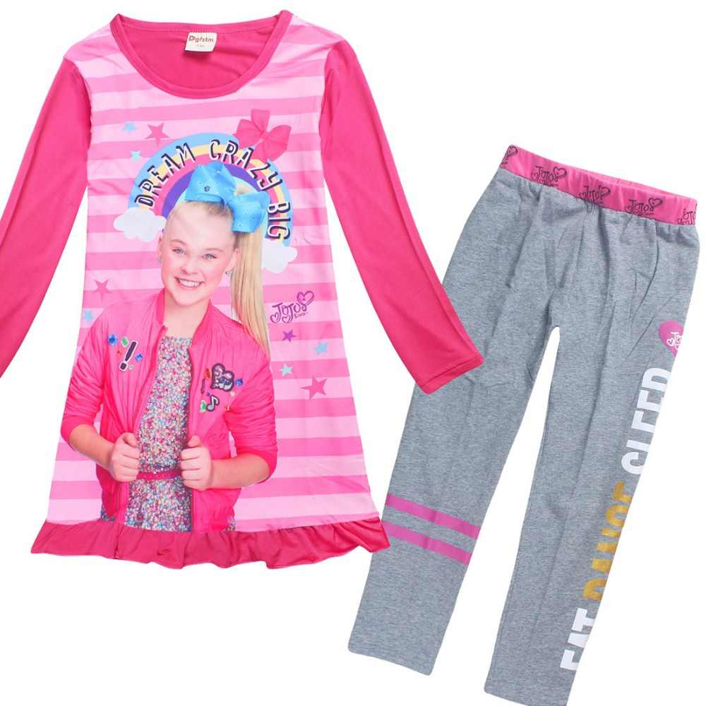 f3a92f4b1cf ... 2018 Cartoon Pajamas for Girls Long Sleeve Dresses + Cotton Pants Jojo  Siwa Clothing Set Childrens ...