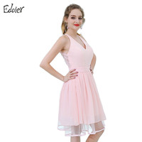 Cheap Bridesmaid Dresses 2017 A Line V Neck Tank Knee Length Lace Chiffon Short Bridesmaid Dress Pink Wedding Party Dress