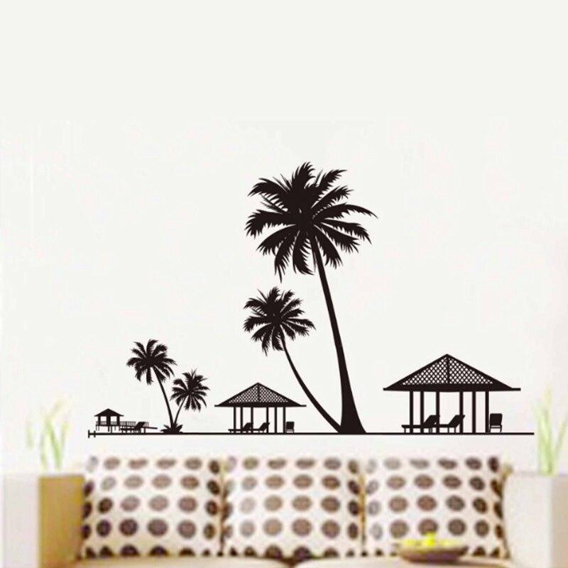 Кокосовое побережье село декорации стены Стикеры детской комнаты украшения Diy пейзаж росписи Книги по искусству Наклейка Home Decor