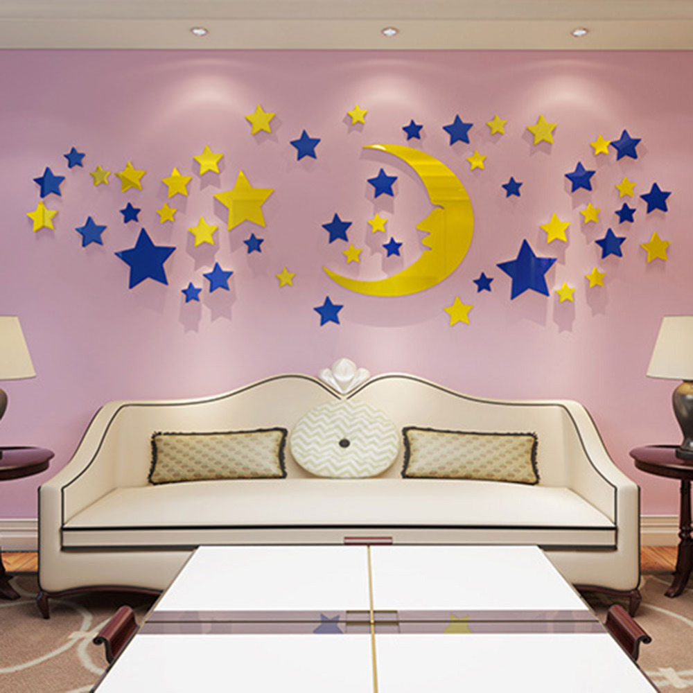 Diy moon wall sticker for kids room children 3d mirror for Diy photo wall mural