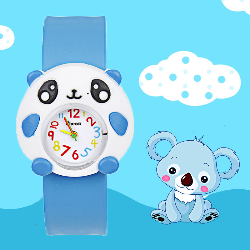 Silicone Slap On Watch Children Cartoon Panda Quartz Watch 3 Colors Kids Boys Girls Christmas Gifts Baby Toys Digital Watches Q7