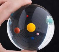80MM K9 Crystal Ball 3D Laser Engraved Solar System Eight Planets Home Decoration Accessories Bola de cristal with bag