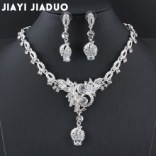 jiayijiaduo Flowers Crystal Bridal Jewelry Sets Silver Color Necklace set Long earrings For Women Jewelry Wedding accessories
