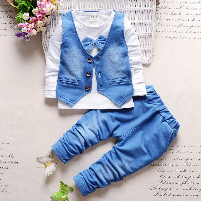 ef993570ff821 2016 new arrive fashion personality autumn spring baby Boy clothes Full  clothes trousers suit for boys Denim bow sets-in Clothing Sets from Mother  & Kids on ...