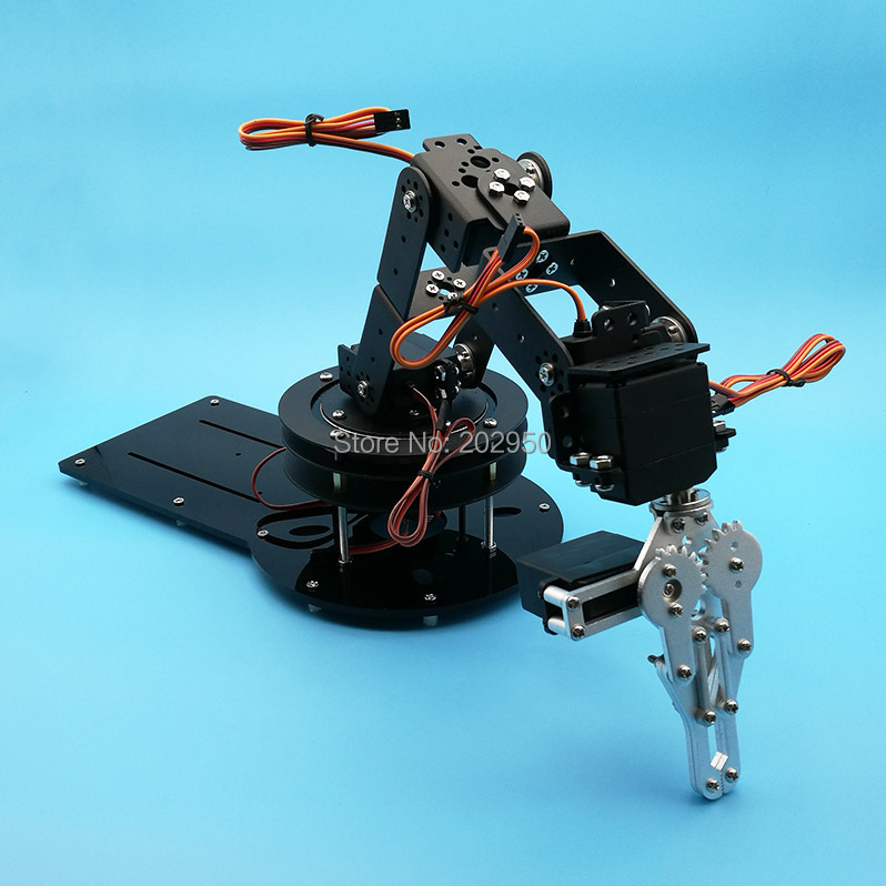Metal Alloy 6 DOF Robotic Robot Arm Clamp Claw Swivel Rotatable Stand Mount Kit