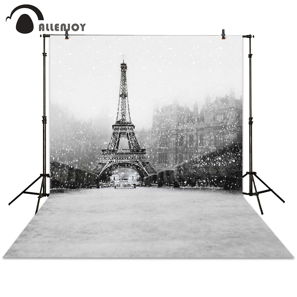Allenjoy photography backdrop winter Eiffel Tower street snow building white background photocall photographic photo studio