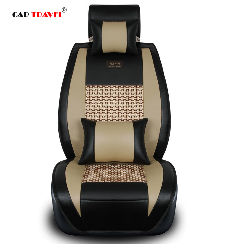 Car travel Brand new styling luxury leather car seat covers front & back complete set for universal 5 seats car four season hot sale car seat back covers protectors for children protect back of the auto seats covers for baby dogs drop shipping