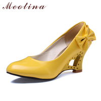 Meotina Shoes Women Wedge High Heels Fashion Bow PU Patent leather Platform Shoes Party Pumps White Black Pink Yellow Size 34-39