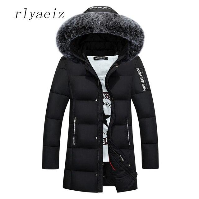Best Price Rlyaeiz Winter Jacket Men Big Faux Fur Collar Mens Winter Jackets And Coats Men Cotton Padded Jackets Solid Parka homme Overcoat