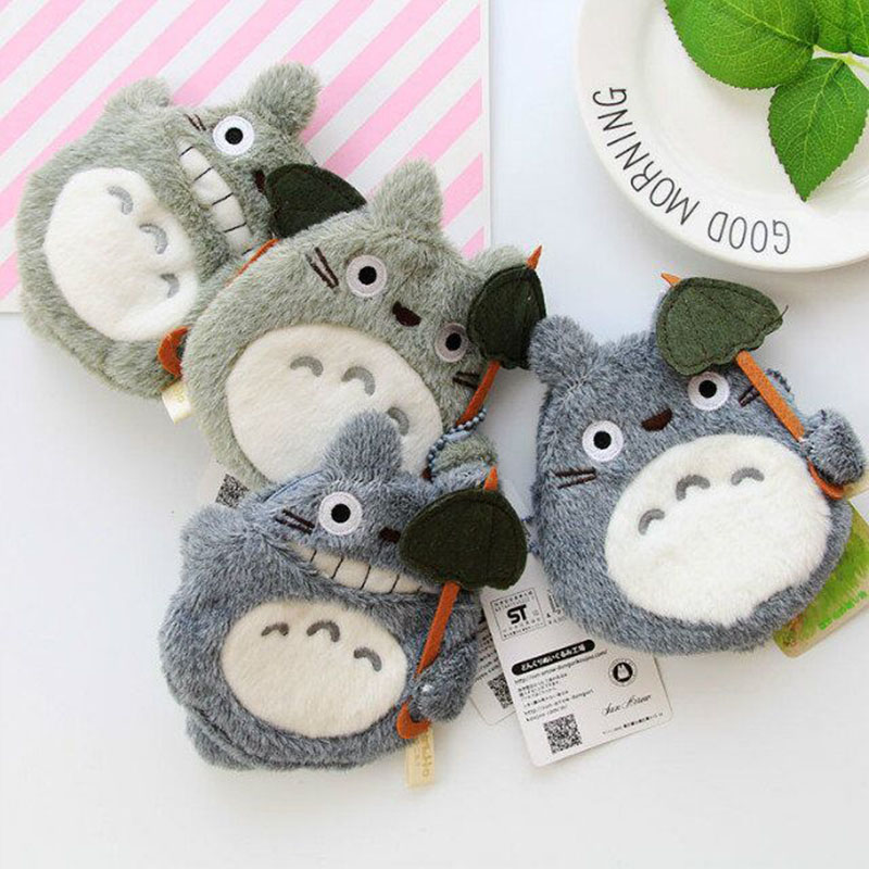 Kawaii Cartoon Totoro Dolls Plush Purse For Children Kids Gifts Plush Pendant Coin Purse Wallets Cute Animals Toy Doll 12*12cm Lustrous