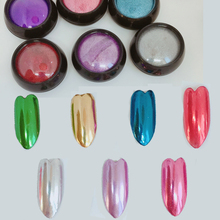 1 Jar 0.5g Metallic Chrome Flakes / Fine 7 Colors Mirror Nails - glitter/Magic Dip Powder Nail Glitter ,HJui89KK