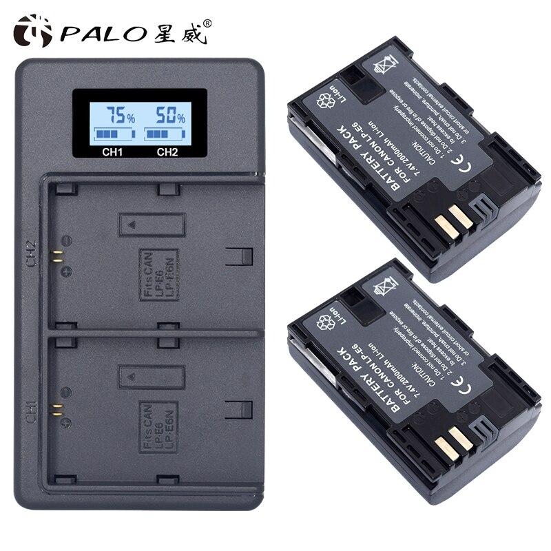 2x LP E6 LPE6 LP-E6 E6N Batterie 2000 mAh + LED Double Chargeur Pour Canon EOS 5DS R 5D Marque II 5D Mark III 6D 7D 80D EOS 5DS R Caméra