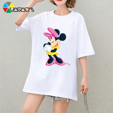 New Mickey Mouse Tee Women Summer Fashion Short Sleeve Cute Cartoon Print Black White T Shirts Oversize Tops Wear