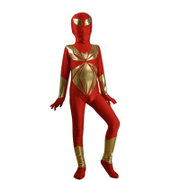 KC9044 Red And Gold Child Iron Spider Armor Kids Size Superhero Costume Pattern Zentai Suit