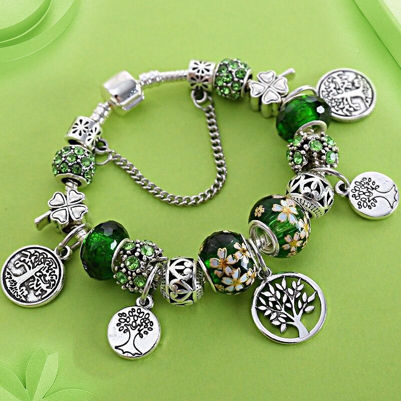 Stering 925 Prata Árvore da Vida Encantos Folha Pan Talão Bracelete de Cristal Verde Floral Do Vintage Botão de Pressão DIY Pulseira Pulsera