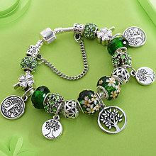 Stering 925 Silver Tree of Life Fashion P Bead Bracelet Green Leaf Floral Crystal Charms Bracelet & Bangle Pulsera Jewelry(China)