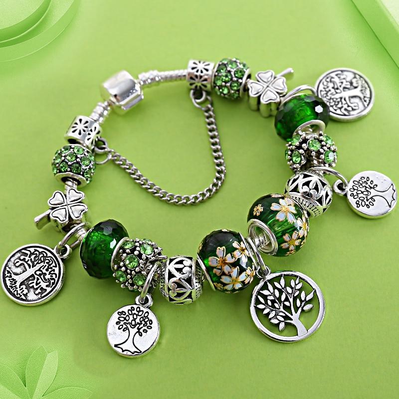 Stering 925 Zilveren Boom van Het Leven Mode Pandora Kraal Armband Groen Blad Bloemen Crystal Charms Armband & Bangle Pulsera Sieraden