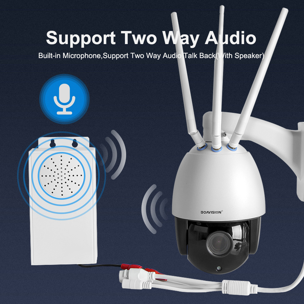 Outdoor 4G SIM Card Dome CCTV IP Camera PTZ HD1080P 5X Zoom Audio IR 60m TF Card