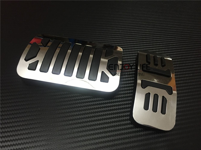No Drill 2pcs Fuel Gas Brake Foot Pedal Pad Plate Kit Set AT For Jaguar XF