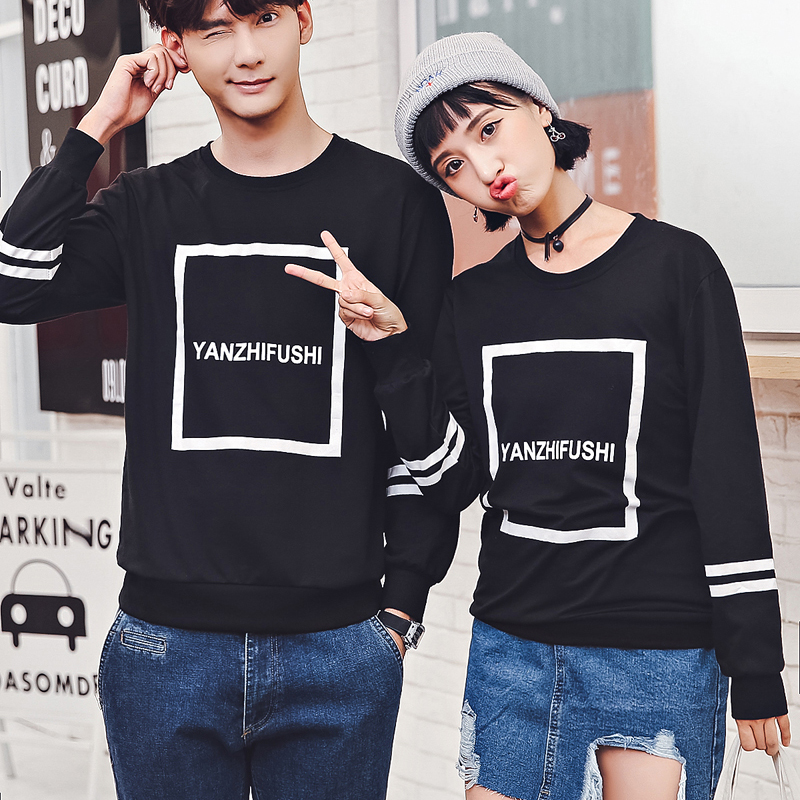 Autumn Winter Sweatshirts Hoodies Lovers Couple Clothes Letter Printed Tops  Pullover Black Korean Matching Couple Hoodies 8802-in Hoodies & Sweatshirts  from ...