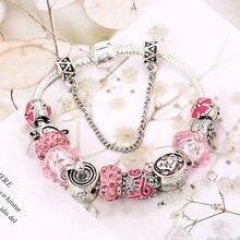 Pink Heart-shaped Women's Bracelet diy Zinc Alloy Beaded Bracelet for women Original Bracelet open decoration Jewelry love gift недорого