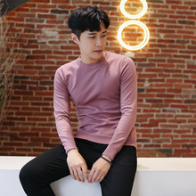 Casual Slim Fit Solid Color Knitting Self-cultivation Round Neck Men Sweater 2018 Autumn Leisure Thin Long Sleeve Male Pullover