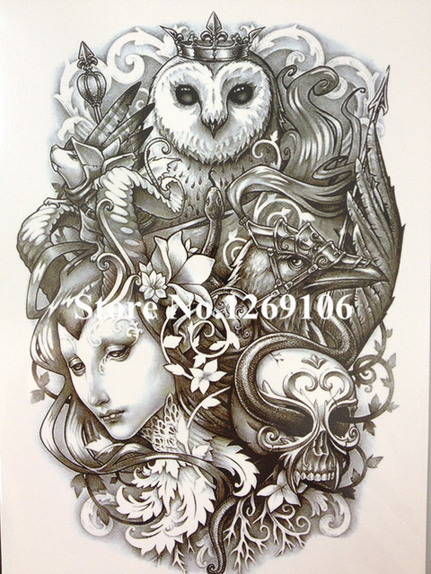 Owl Women And Skull Sexy Cool Beauty Tattoo Waterproof Hot Temporary Tattoo Stickers #178