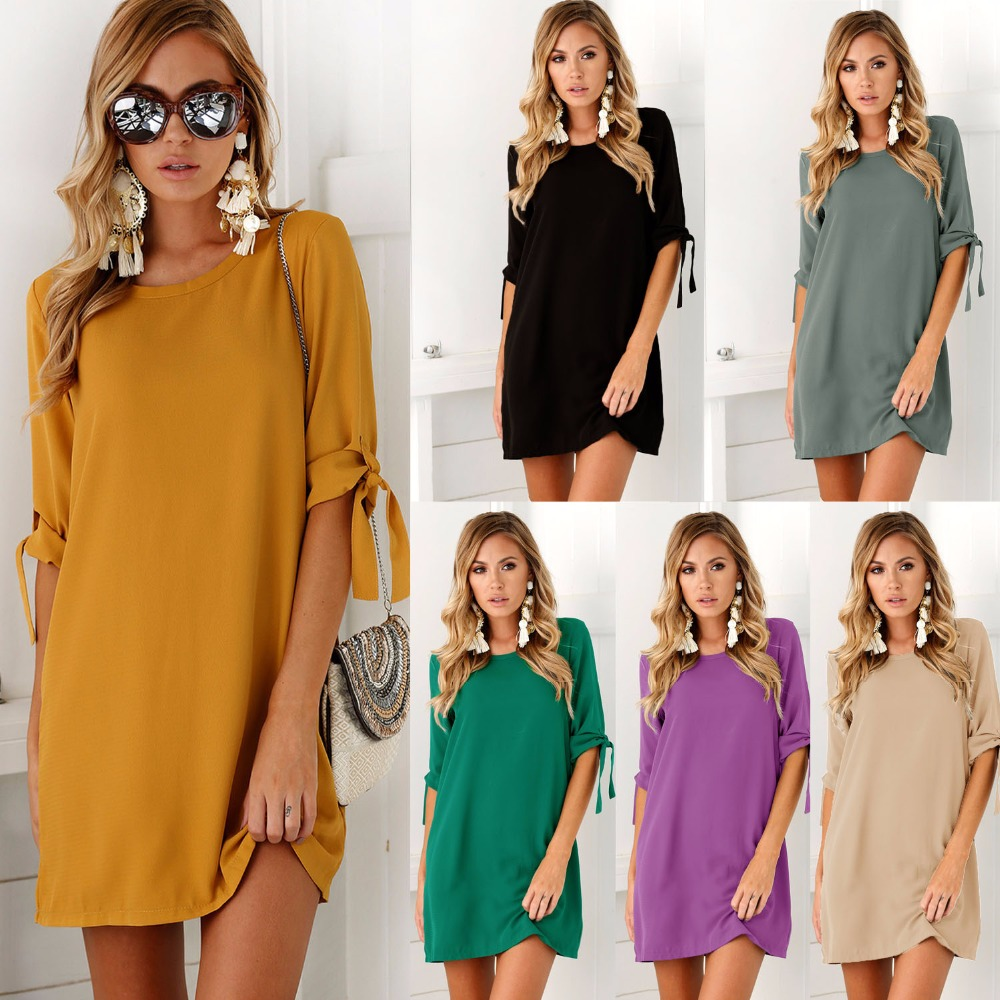 The 2017 autumn fashion new WISH hot style beam sleeve round neckline dress