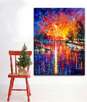 Palette Knife Oil Painting Yacht Moored In Fantasy Harbour Picture Printed On Canvas Wall Art For