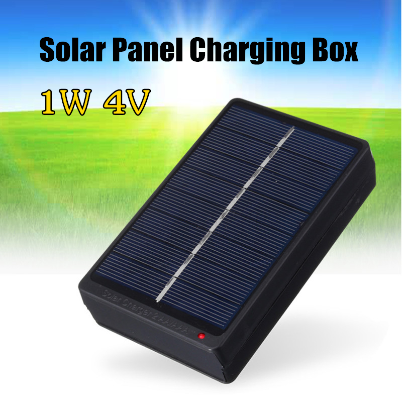 1W 4V Solar Panel Battery Charger Box Portable Power Bank Board For 2*AA/AAA 1.2V Batteries Power Supply Solar Cell Board DIY jslinter new solar charger 24w 2 ports portable battery charging treasure with auto technology high power solar panel cell