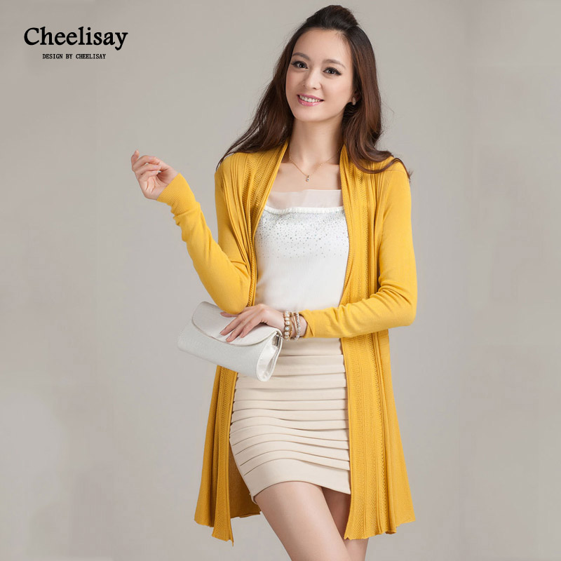 Cheelisay 2019 Fashion Cardigans Female Casual Long Knitted Open Stitch Spring Autumn Women Loose Solid Color Sweater Outwear