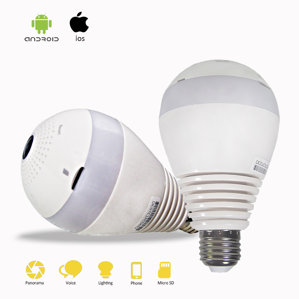 960P HD VR Camera Bulb LED Light wifi IP Camera Wi-fi Fish-eye 360 degree 2.0MP Home Security CCTV Wireless White Light Camera bc 883m mirror bulb lamp camera hd 960p wifi ap hd 960p ip network camera with real light remote control 2017 new arrival