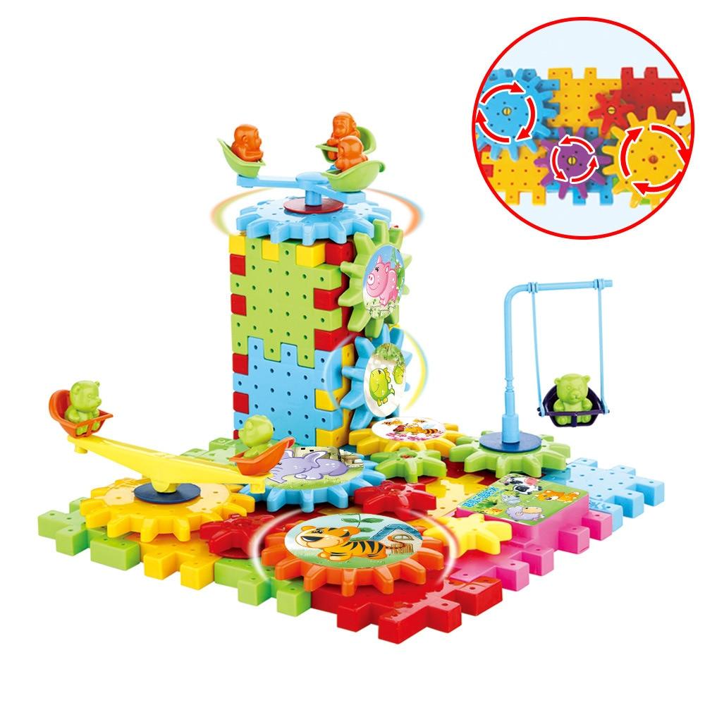 81pcs Children's Plastic Building Blocks Toys Kids DIY Creative Educational Toy Gear Blocks Toys Model Building Kit