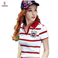 New Women Polo Shirt Femme Stripe Breathable Classic Cotton Polo Feminina 2017 Summer Woman Polos Tops Plus Size M-3XL YY419